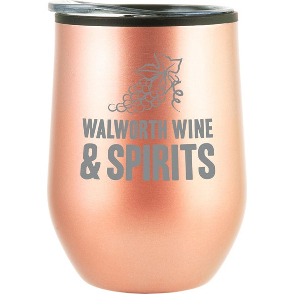 Rose Gold Bay Mist Wine Tumbler with Lid