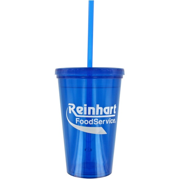 Translucent Blue Double Wall Green Tumbler