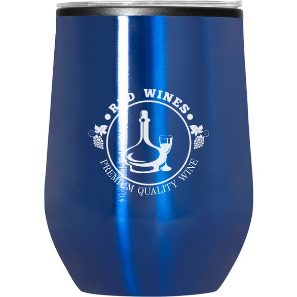 Blue Budget Stemless Wine Tumbler with Lid