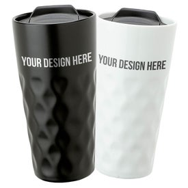 Ceramic Travel Tumbler (15 Oz., Black and White)