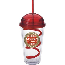 Branded Dome Tumbler with Curly Straw
