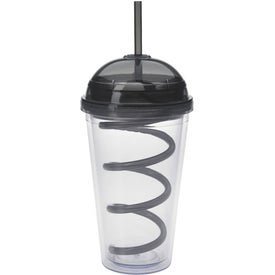 Advertising Dome Tumbler with Curly Straw