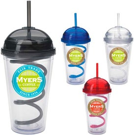 Dome Tumbler with Curly Straw with Your Slogan