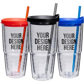 Double Wall Clear Orbit Acrylic Tumbler (24 Oz.)