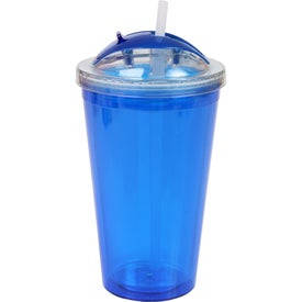 Monogrammed Double Wall Tumbler with Dome Lid and Straw
