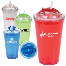 Double Wall Tumbler with Dome Lid and Straw (16 Oz.)