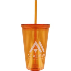 Customized Double Wall Acrylic Tumbler With Straw