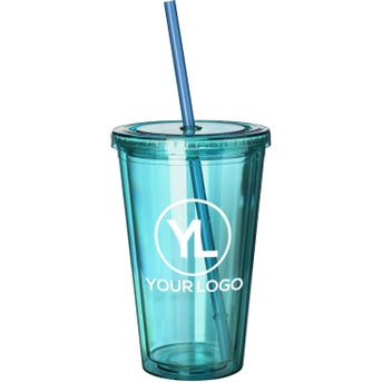 Double Wall Acrylic Tumbler With Straw 16 Oz