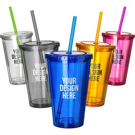 Double Wall Acrylic Tumbler With Straw (16 Oz.)