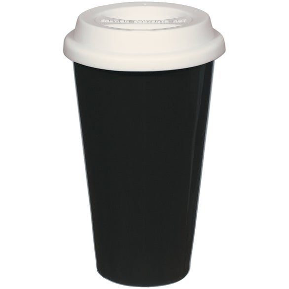Double Wall Ceramic Tumbler With Lid