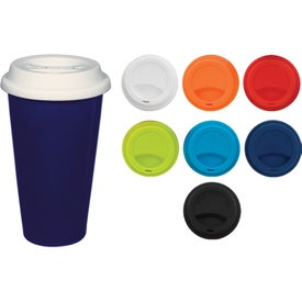 Company Double Wall Ceramic Tumbler With Lid