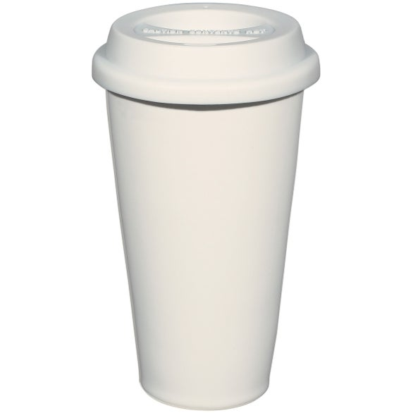Double Wall Ceramic Tumbler With Lid 11 Oz White