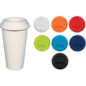 Double Wall Ceramic Tumbler With Lid (11 Oz., White)