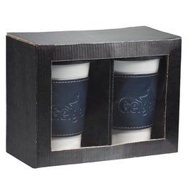 Gift Box Set with Two Blue Ceramic Tumblers