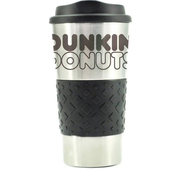 Silver / Black Grip N Go Stainless Tumbler