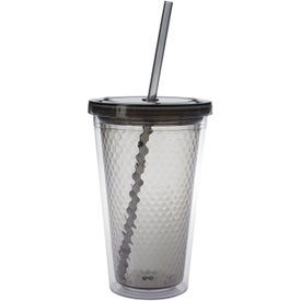 Logo Double Wall Honeycomb Tumbler with Straw