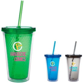 Branded Double Wall Honeycomb Tumbler with Straw