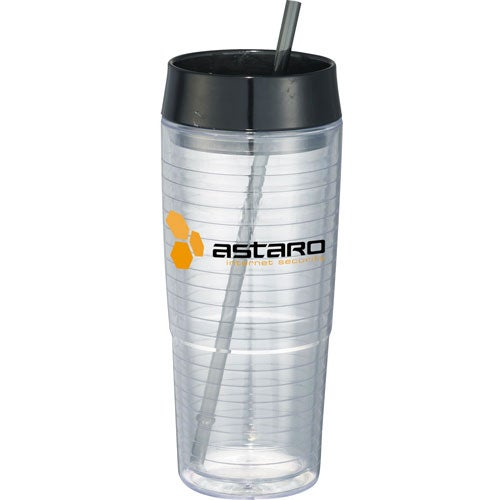Clear / Black Hot and Cold Swirl Double Wall Tumbler