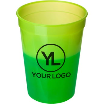 Green Mood promotional 12 oz. mood stadium cups with custom logo for $0.39 ea.