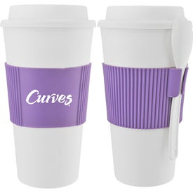 Mug with Grip and Spoon Branded with Your Logo