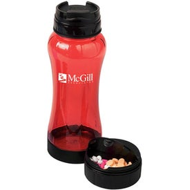 Imprinted PC Water Bottle with Pill Box