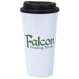 Plastic Double Wall White Tumbler with Black Lid (16 Oz.)