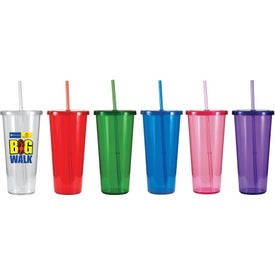 Single Wall Tumbler with Straw for Marketing