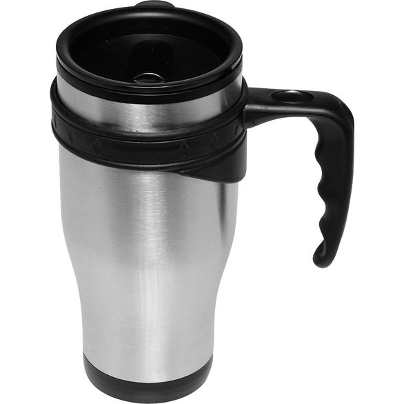 Silver / Black Sporty Stainless Steel Travel Mug