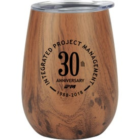 Stainless Steel Lined Vacuum Faux Wood Wine Tumbler (10 Oz.)