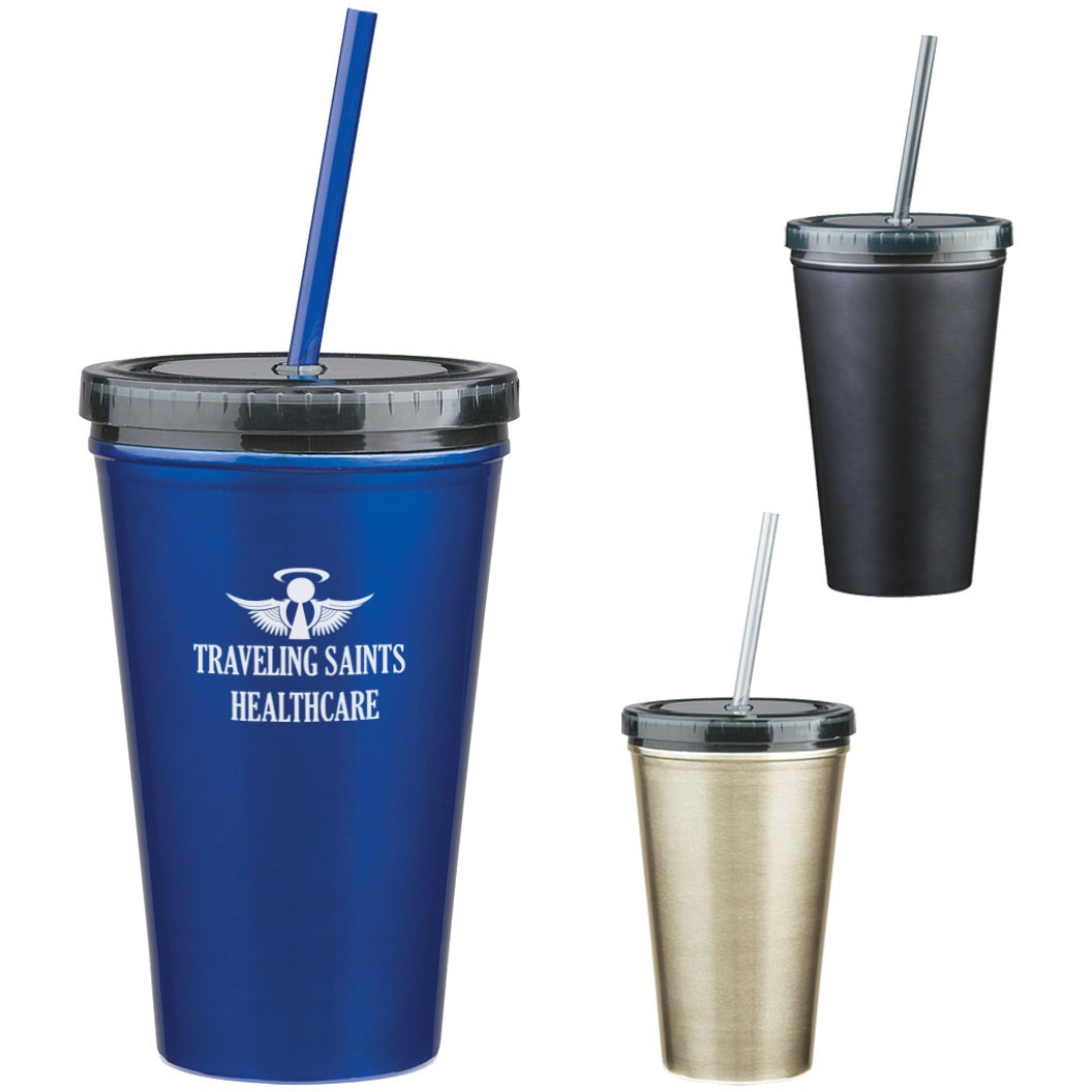 Promotional 16 Oz Stainless Steel Double Wall Tumbler With Straws