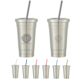 Stainless Steel Tumbler With Straw (16 Oz.)