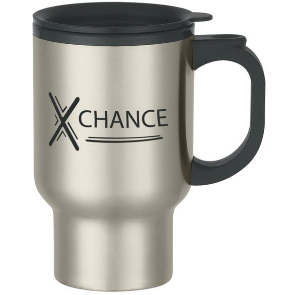 Promotional 16 Oz Stainless Steel Handled Travel Mugs With Custom