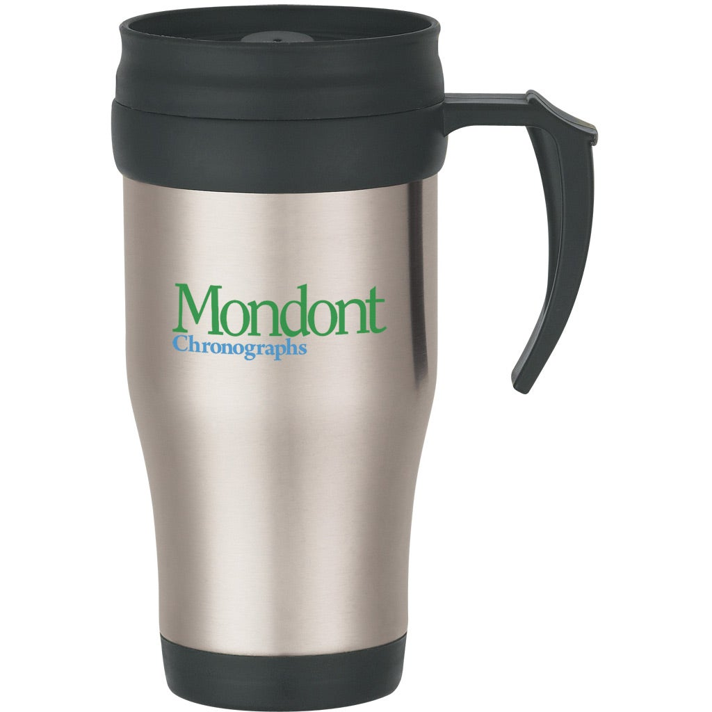 Steel Black Stainless Travel Mug With Slide Lid 16 Oz