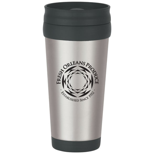Silver / Black Stainless Steel Tumbler with Slide Action Lid