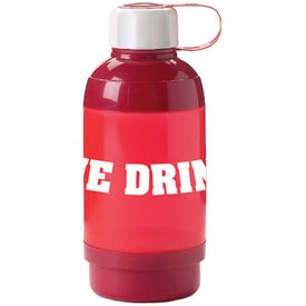 Straight Water Bottle with Pill Box Branded with Your Logo