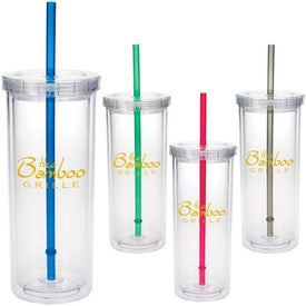 Tall Tumbler with Straw Branded with Your Logo