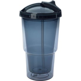Branded Double Wall Travel Tumbler With Straw