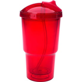 Advertising Double Wall Travel Tumbler With Straw