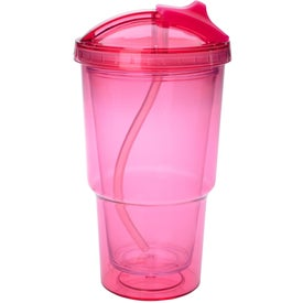 Logo Double Wall Travel Tumbler With Straw