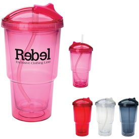 Promotional Double Wall Travel Tumbler With Straw
