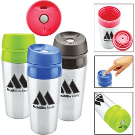 Two Tone Stainless Tumbler with Push Locking Lid (13 Oz.)