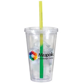 Advertising Victory Acrylic Tumbler with Mood Straw