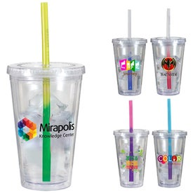 Victory Acrylic Tumblers with Mood Straw (16 Oz., Full Color Logo)