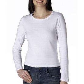 White Anvil Ladies' 1x1 Rib Knit Long Sleeve Scoop Neck Branded with Your Logo