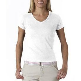 Printed White Anvil Ladies' 1x1 Rib Knit Short Sleeve V-Neck