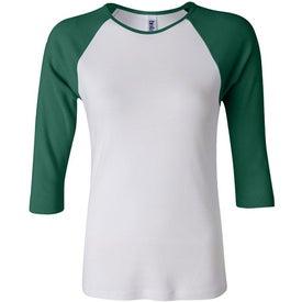 Bella Ladies Rib 3/4 Sleeve Raglan T-shirt Printed with Your Logo