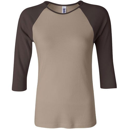 Bella ladies rib 3 4 sleeve raglan t shirt custom ladies for Ladies custom t shirts