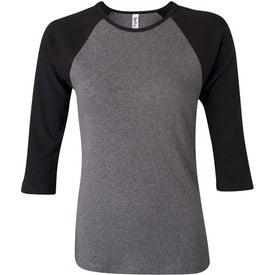 Bella Ladies Rib 3/4 Sleeve Raglan T-shirt for Your Company