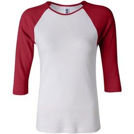 Bella Ladies Rib 3/4 Sleeve Raglan T-shirt