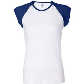 Bella Ladies' Rib Cap Sleeve Raglan T-shirt for your School